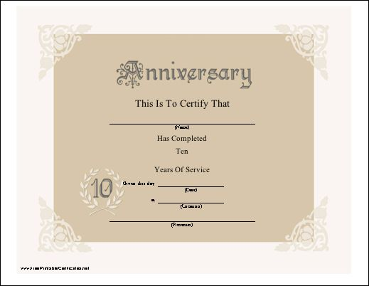 Anniversaries other and tenth anniversary on pinterest for Service anniversary certificate templates