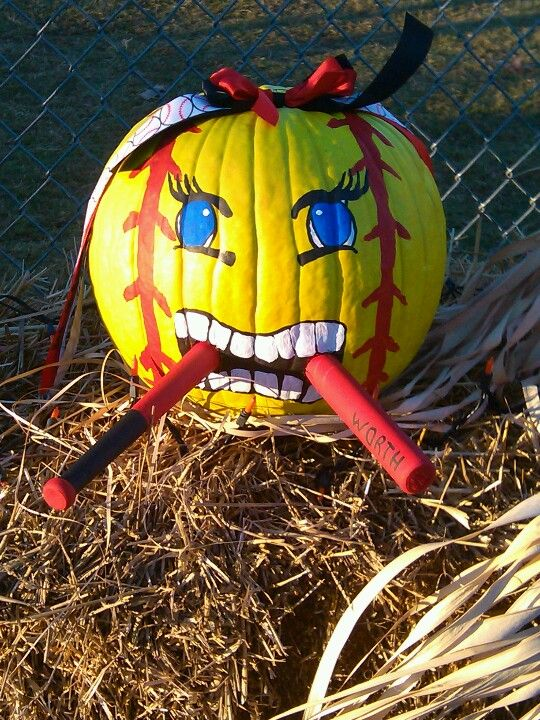 Softball pumpkin, gonna totally do this next year:)
