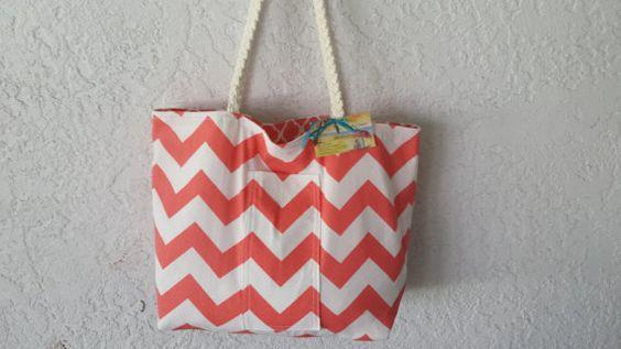 Salmon Beach Tote Bag with braided handles medium size