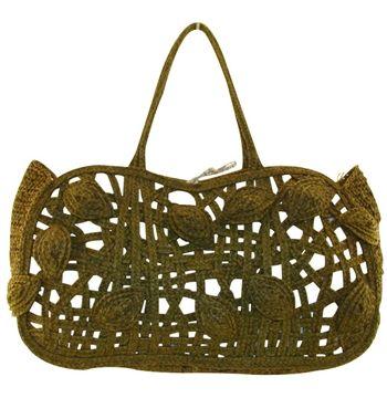 JAMIN PUECH designer handbags VINTAGE olive dyed straw shopper designer purses