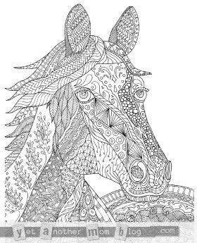 Zentangle Horse Coloring Page for