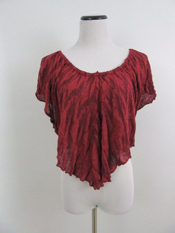 Free People Red Batwing Tunic Top Size L #FreePeople #Blouse #Casual
