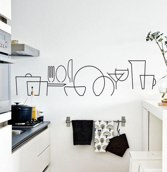 Vinilo decorativo para cocinas. Muy bonito en la pared o debajo de la campana. Se puede colocar en un espacio vertical separando las piezas.: