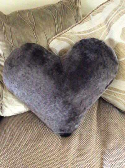 Dorset story Sheepskin heart cushion with a suede reverse