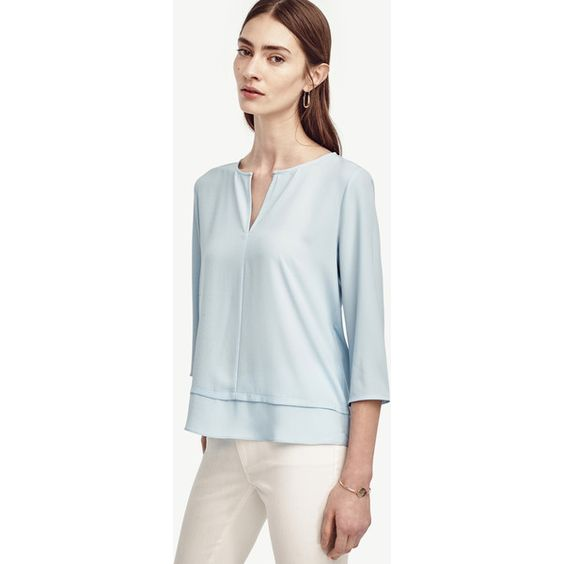 Ann Taylor Layered Mixed Media Top ($60) ❤ liked on Polyvore featuring tops, splendid sky, blue top, long tops, three quarter sleeve tops, layered ruffle top and ann taylor