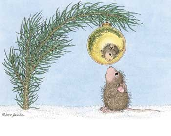 """Hope things are ""looking up"" this holiday."" from House-Mouse Designs®. This image was recently purchased as a package of Christmas Cards. Click on the image to see it on a bunch of other really ""Mice"" products."