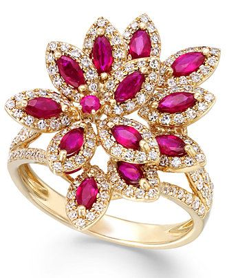 Ruby Royalé by EFFY Ruby (1-3/8 ct. t.w.) and Diamond (5/8 ct. t.w.) Ring in 14k Gold: