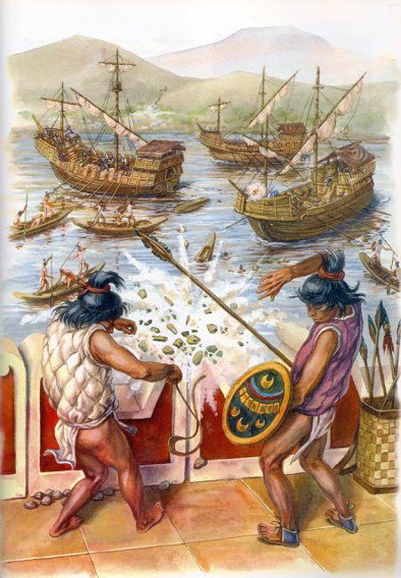 """La Pintura y la Guerra """"Gracias a los bergantines que Cortés mandó construir tuvo un dominio efectivo del lago y pudo bloquear las comunicaciones de Tenochtitlan"""""""