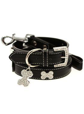 Black Leather Diamante Collar / Diamante Bone Charm and Lead Set | Dog Collar & Lead Sets at UrbanPup.com