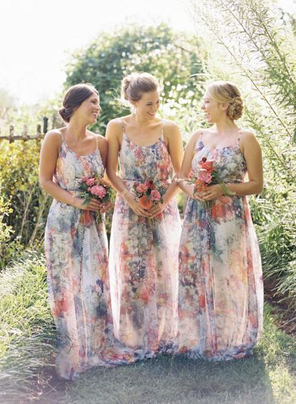 New Arrival Summer Flowery Bridesmaid Dresses 2016, 2016 Elegant Floral Print Dresses for Bridesmaid Party