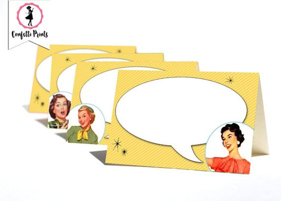 Retro Housewife Place Cards - GOSSIP GIRLS | Printable Place Cards | Food Tents | Food Labels | Name Cards | 1950s Housewife | Editable