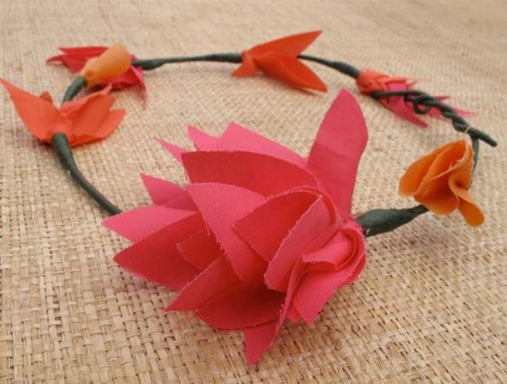 Fabric flower crown fabric pinterest fabric flowers origami fabric flower crown mightylinksfo