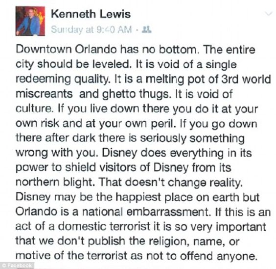 Florida prosecutor KENNETH LEWIS suspended for Facebook post slamming Orlando after the terrorist attack | Daily Mail Online