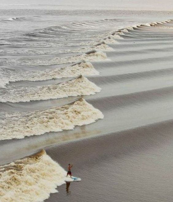 STRANGE RARE TIDAL BORE SURFING - TIDE IS COMING IN AND CREATES DOZENS OF SURF-ABLE WAVES