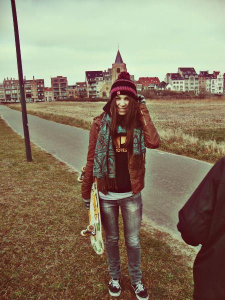 City girl, Knit hats and Brown leather jackets on Pinterest