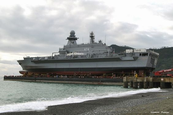Algerian Navy landing & logistical support ship & helicopter carrier Beni Abbes,also capable of carrying other vtol a/c.Built in Italy by Sistemi Navali Orizzonte subsidiary of Fincantieri.Based on Italian Cavour class carriers,though more sophisticated systems.Due for delivery to Algeria on September 4,2014.