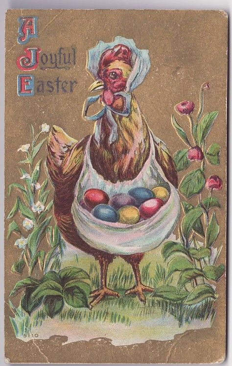 Vintage Postcard A Joyful Easter Mother Chicken with Colored Eggs (Image1):