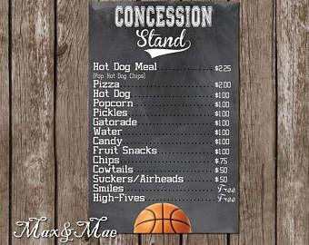 Sports Concession Menu Basketball Party Decor Basketball Party