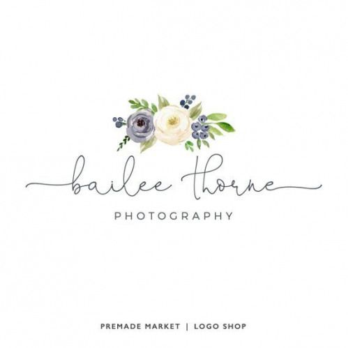Premade Logo Design Floral Logo Photography Logo Blog Header Blog