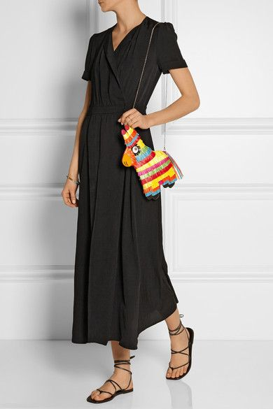 """Charlotte Olympia's 'Piñata' shoulder bag is inspired """"by the atmosphere, traditions, and spice of Mexico."""" Made from layered, multicolored raffia, magenta suede and leather, this playful style will comfortably stash your essentials in its satin-lined interior. Carry using the optional shoulder strap."""