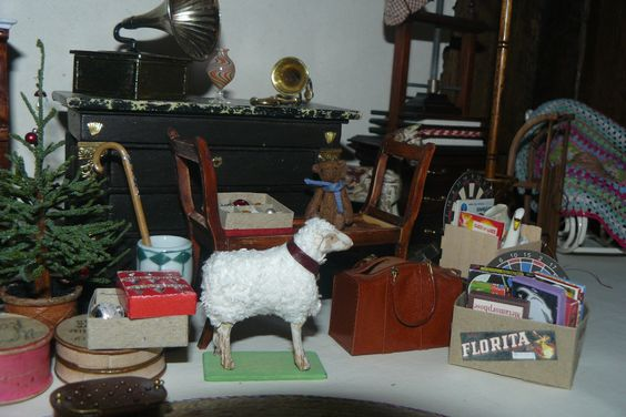 a corner of the attic in my dollhouse by Gaby Manon with toys - image only by pinner