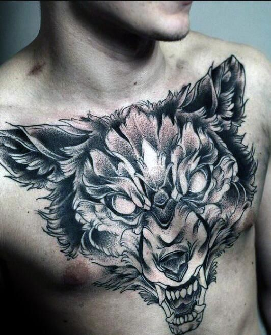 Dire Wolf Tattoo Chest Tattoo Wolf Wolf Tattoos Wolf Tattoos Men