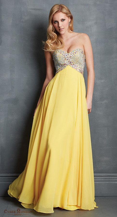 Prom Dresses Sweetheart Empire Waist A Line Rhinestone Beaded Chiffon Yellow Item Code: #CMDPH5GJ8CT