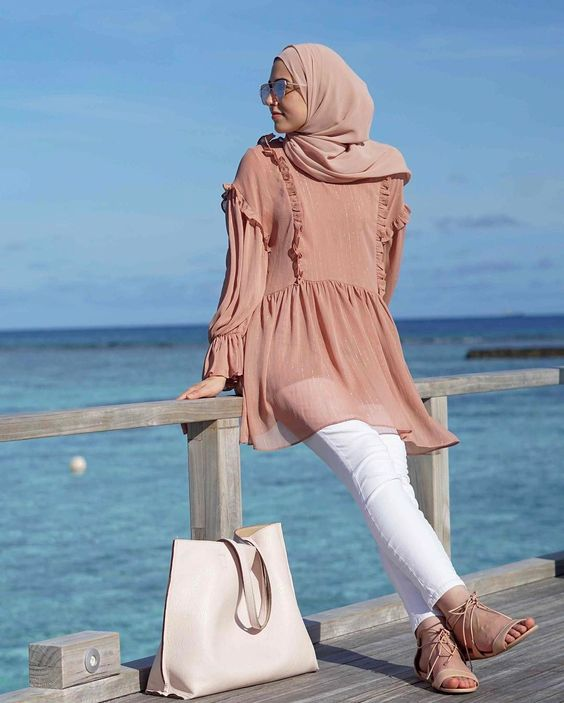 Short Brown frock with brown hijab for party