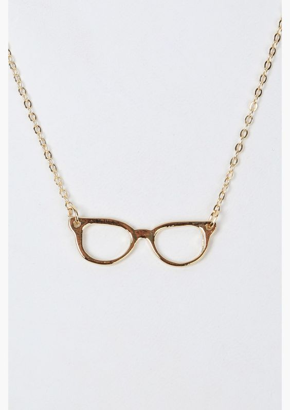 A great dairy necklace that has NERD eye glasses pendant hanging on center. Has thin gold chain and multiple holes for length adjustment.