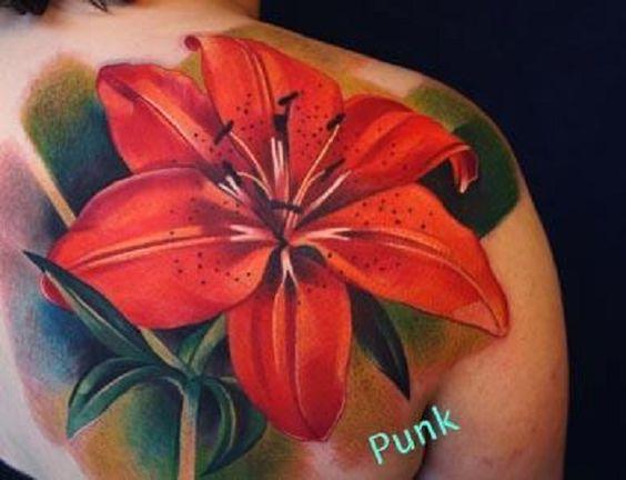 lily flowers tattoo 7 - 60 Beautiful Lily Tattoo Ideas <3