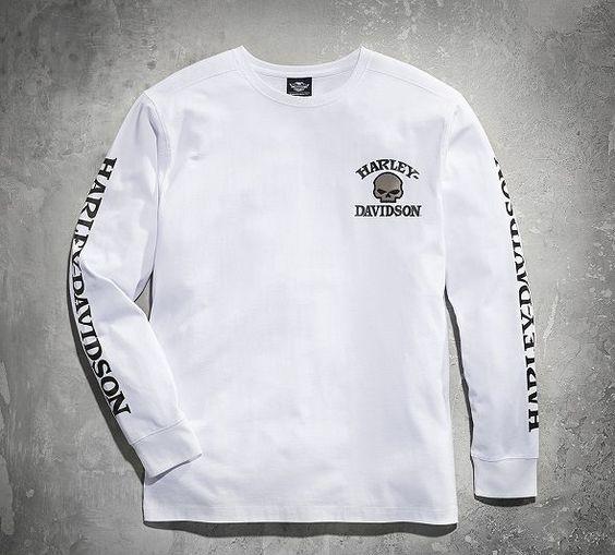 Men's Skull Long Sleeve Tee - White | For Men | Official Harley-Davidson Online Store