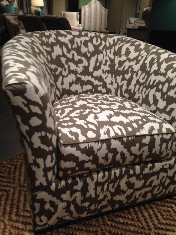 Ashland Swivel Chair, 275-SW, from C.R. Laine. Fabric is Diane von Furstenberg Animal Ikat from Kravet. #hpmktSS