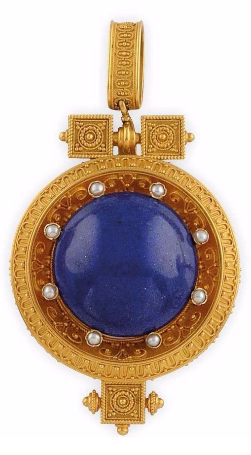 A Napoleon III antique gold, lapis lazuli and natural pearl pendant, mid 19th century. Length 7cm. #antique #pendant