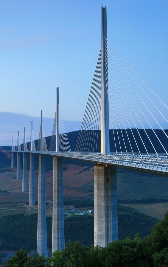 Millau Viaduct by Norman Foster architect, at Millau, Tarn Valley, France