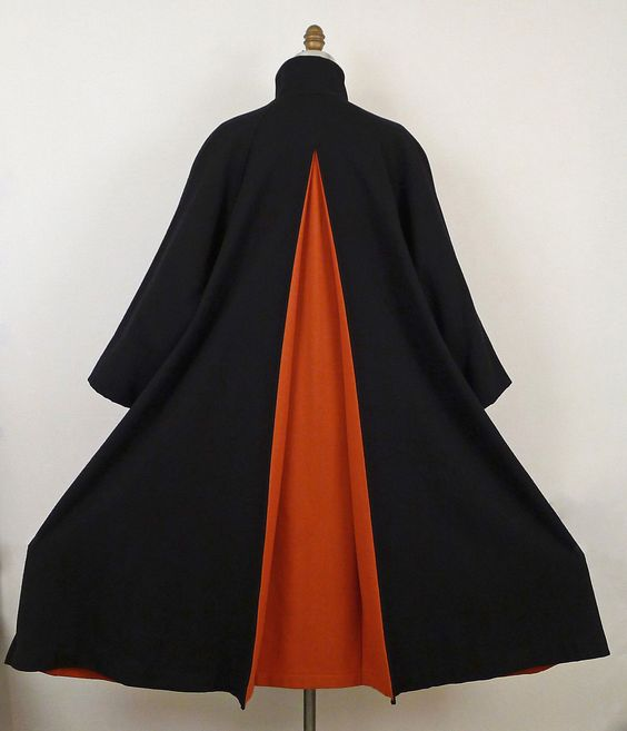Black/orange wool cape coat, Yohji Yamamoto