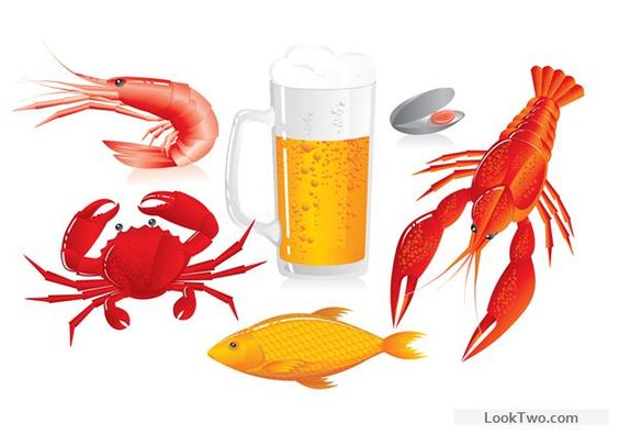 Beer and seafood vector material free vector download