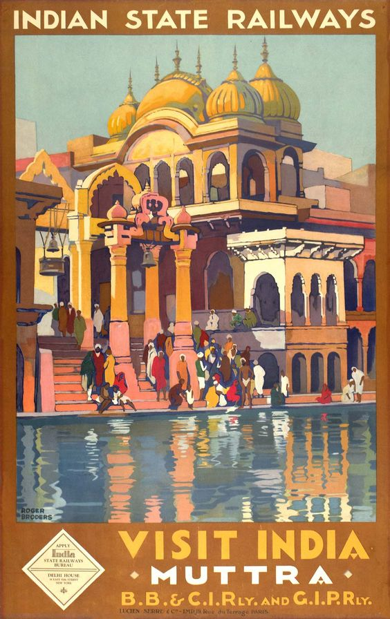 1928 Visit India, Muttra vintage travel poster