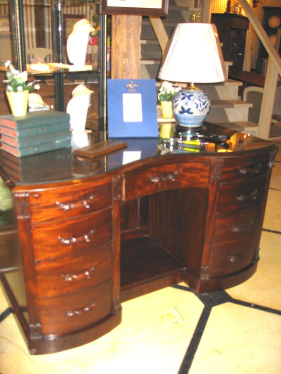 Beautiful English Desk, circa 1850's just in the shop.  We love the look of this mahogany veneer.