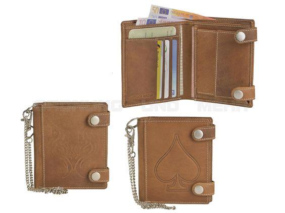 FRIEDRICH HUNTER - Leder Portemonnaie Geldbörse Bikerbörse mit Kette Geldbeutel - cognacbraun 16055