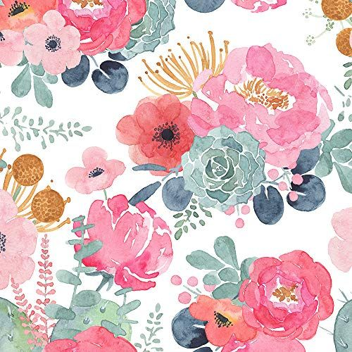 Haokhome 93005 2 Floral Wallpaper Peel And Stick Watercolor Cactus White Pink Green Navy Blu Floral Wallpaper Modern Floral Wallpaper Watercolor Floral Pattern