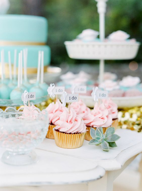 """Pretty wedding desserts besides cake """"I do"""" cupcake toppers:"""