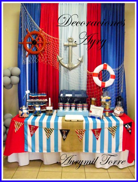 Nautical birthday party ideas backdrops birthday party for Anchor decoration party