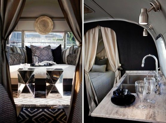 The inside of this lil' airstream trailer is to DIE FOR. So glamorous!