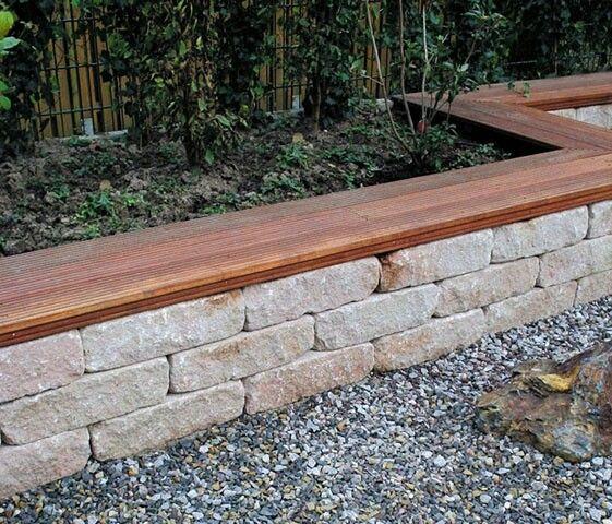 Muschelkalk Wechsel Trockenmauer als Halbrunde Sitzmauer Garten - sitzplatz im garten mit steinmauer