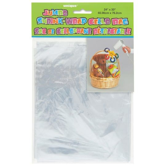 Jumbo Cellophane Shrink Wrap Bag By Unique | 2 Pack
