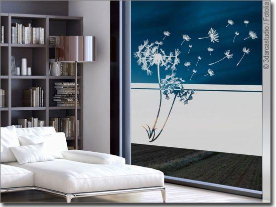 Blickdichte Milchglasfolie Pusteblume Sichtschutzfolie Fenster Fensterfolie Fenster Klebefolie