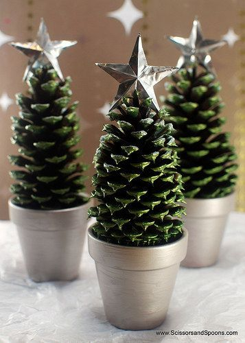 Mini Christmas Tree craft made with pinecones in a terra cotta pot or a K-Cup…