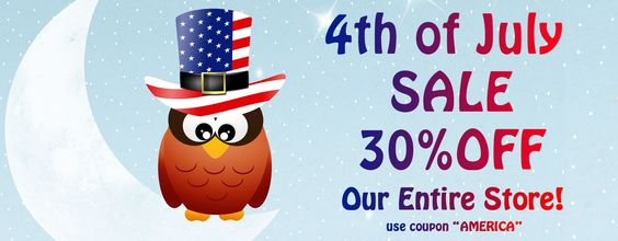 "4th of July SALE 30% off ENTIRE store! Use coupon ""AMERICA"""