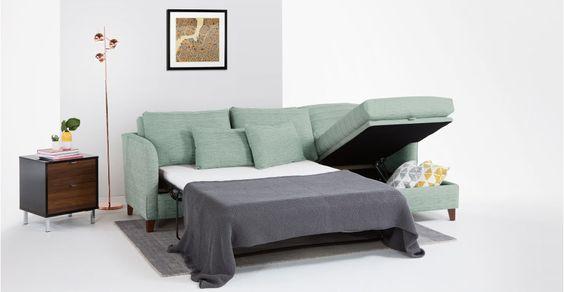 Divano letto angolare destro Bari, Malva Acqua | made.com