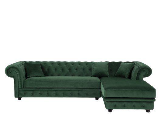 Branagh Ecksofa Recamiere Rechts Samt In Tannengrun Sofa Design Sofas Und Samt Ecksofa
